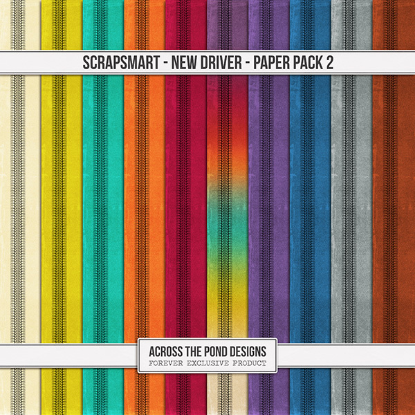 ScrapSmart - New Driver - Paper Pack 2 Digital Art - Digital Scrapbooking Kits