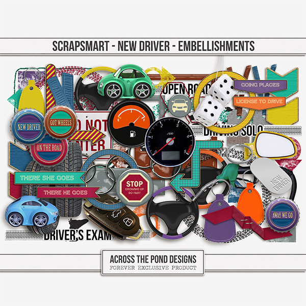 ScrapSmart - New Driver - Embellishments Digital Art - Digital Scrapbooking Kits