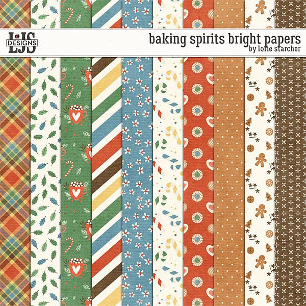 Baking Spirits Bright Papers Digital Art - Digital Scrapbooking Kits