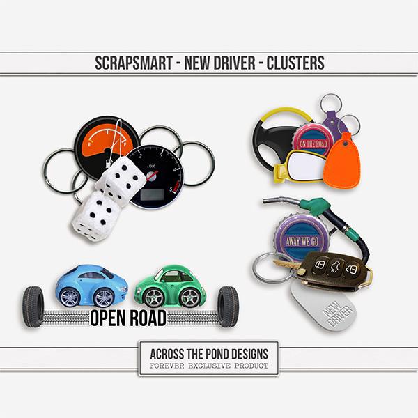 ScrapSmart - New Driver - Clusters Digital Art - Digital Scrapbooking Kits