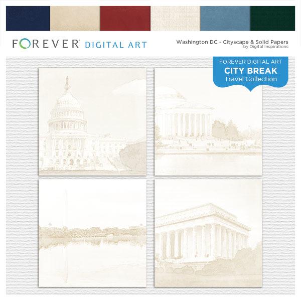 City Break - Washington DC - Cityscape & Solid Papers Digital Art - Digital Scrapbooking Kits