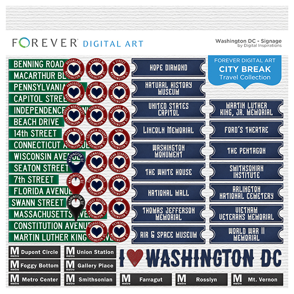 City Break - Washington DC - Signage Digital Art - Digital Scrapbooking Kits
