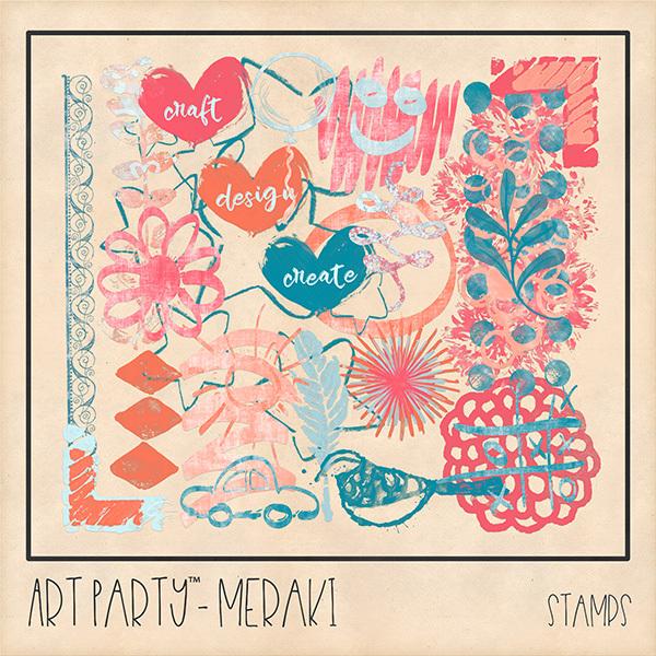Meraki Stamped Pieces Digital Art - Digital Scrapbooking Kits
