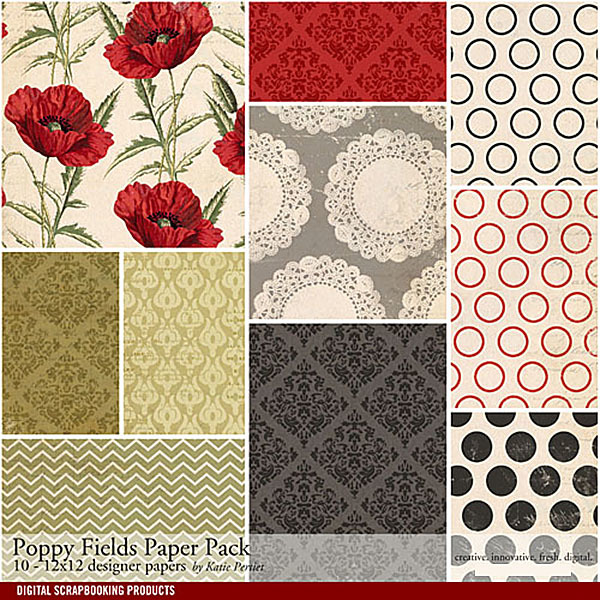 Poppy Fields Paper Pack Digital Art - Digital Scrapbooking Kits