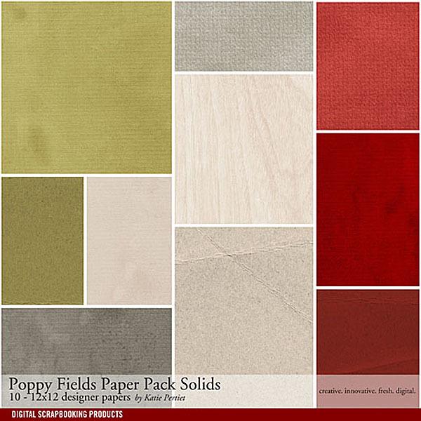 Poppy Fields Solids Paper Pack Digital Art - Digital Scrapbooking Kits