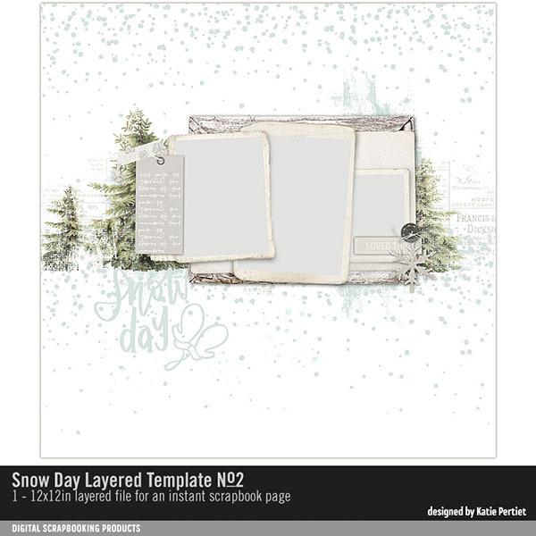 Snow Day Layered Template 02 Digital Art - Digital Scrapbooking Kits