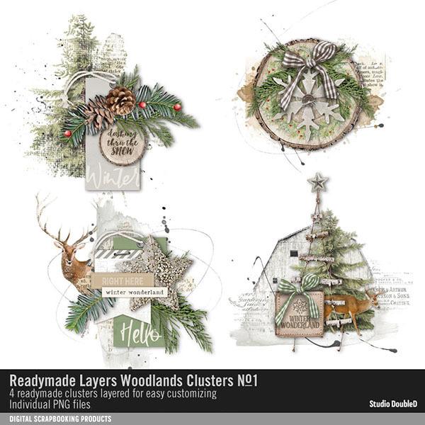 Readymade Layers Woodlands Clusters 01 Digital Art - Digital Scrapbooking Kits