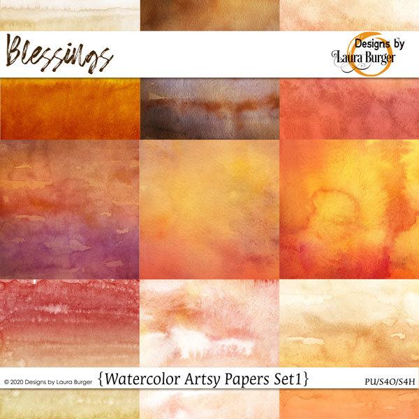 Blessing Watercolor Papers Set 1 Digital Art - Digital Scrapbooking Kits