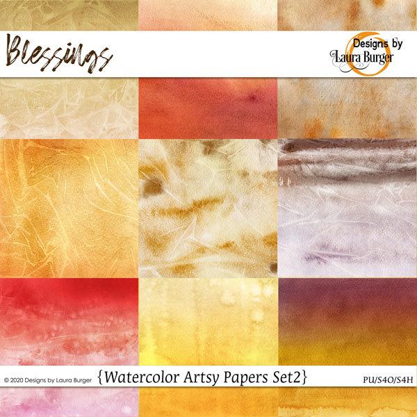 Blessing Watercolor Papers Set 2 Digital Art - Digital Scrapbooking Kits