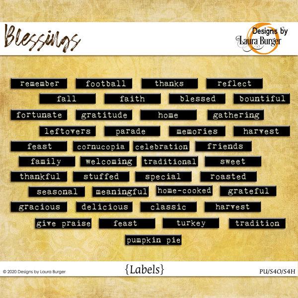 Blessing Words Labels Digital Art - Digital Scrapbooking Kits