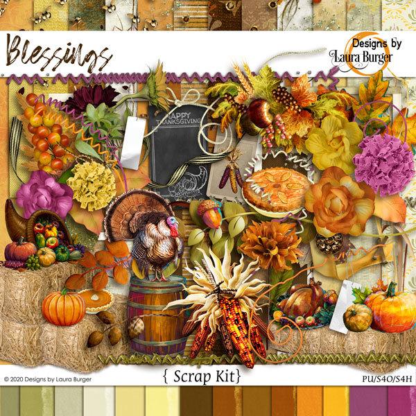 Blessings Scrap Kit Digital Art - Digital Scrapbooking Kits