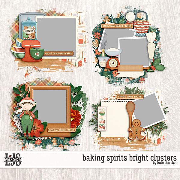 Baking Spirits Bright Clusters Digital Art - Digital Scrapbooking Kits
