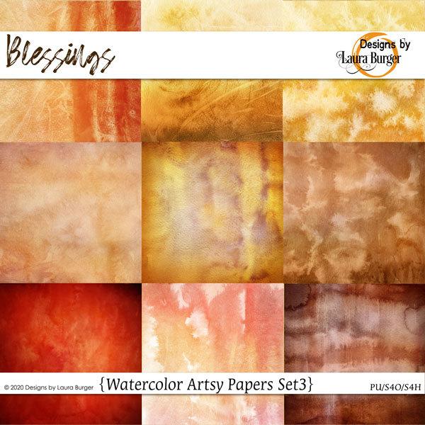 Blessings Watercolor Papers Set 3 Digital Art - Digital Scrapbooking Kits