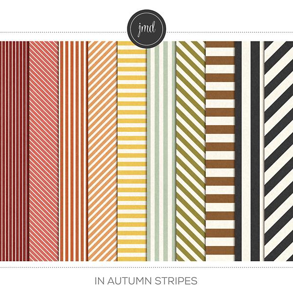 In Autumn Stripes Digital Art - Digital Scrapbooking Kits