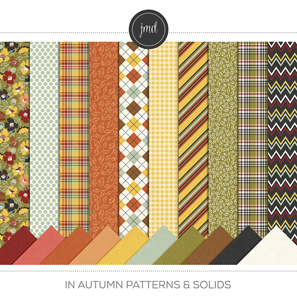 In Autumn Patterns and Solids Digital Art - Digital Scrapbooking Kits