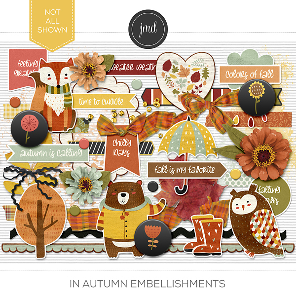 In Autumn Embellishments Digital Art - Digital Scrapbooking Kits