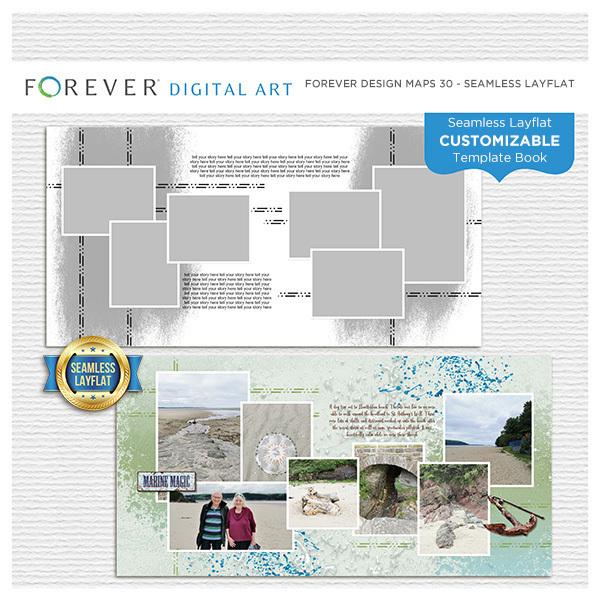 Forever Design Maps 30 - Seamless Layflat Digital Art - Digital Scrapbooking Kits