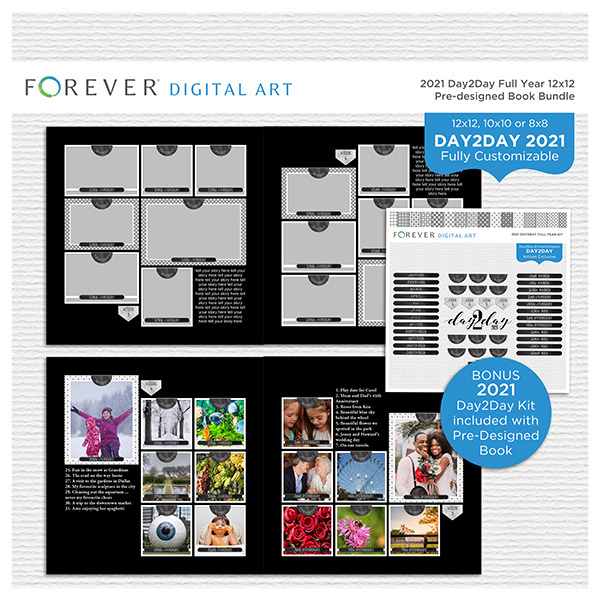2021 Day2Day Full Year 12x12 Pre-designed Book Bundle Digital Art - Digital Scrapbooking Kits