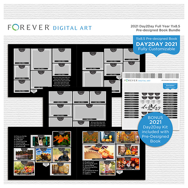 2021 Day2Day Full Year 11x8.5 Pre-designed Book Bundle Digital Art - Digital Scrapbooking Kits