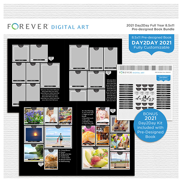2021 Day2Day Full Year 8.5x11 Pre-designed Book Bundle Digital Art - Digital Scrapbooking Kits