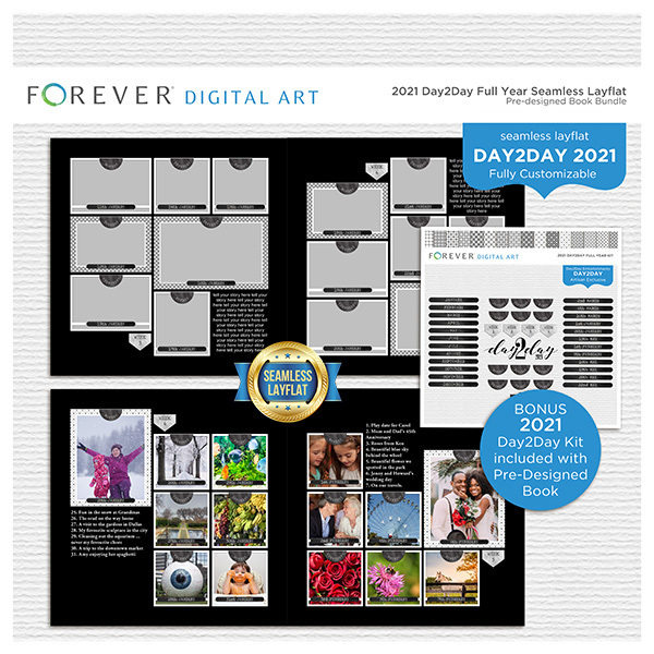 2021 Day2Day Full Year Seamless Layflat Pre-designed Book Bundle Digital Art - Digital Scrapbooking Kits