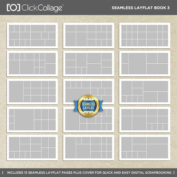 Seamless Layflat Book 3 Digital Art - Digital Scrapbooking Kits