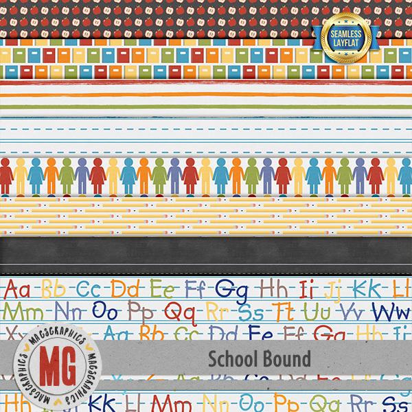 School Bound Seamless Layflat Papers Digital Art - Digital Scrapbooking Kits