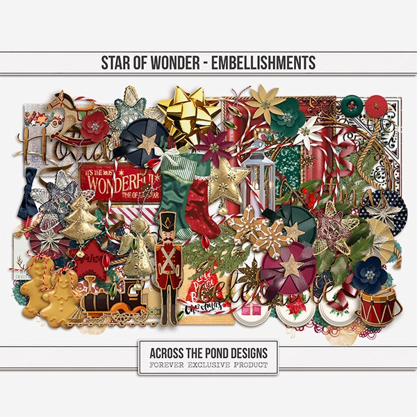Star of Wonder Embellishments Digital Art - Digital Scrapbooking Kits