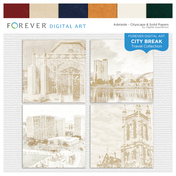City Break - Adelaide - Cityscape & Solid Papers Digital Art - Digital Scrapbooking Kits