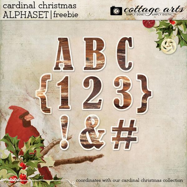 Cardinal Christmas AlphaSet Digital Art - Digital Scrapbooking Kits