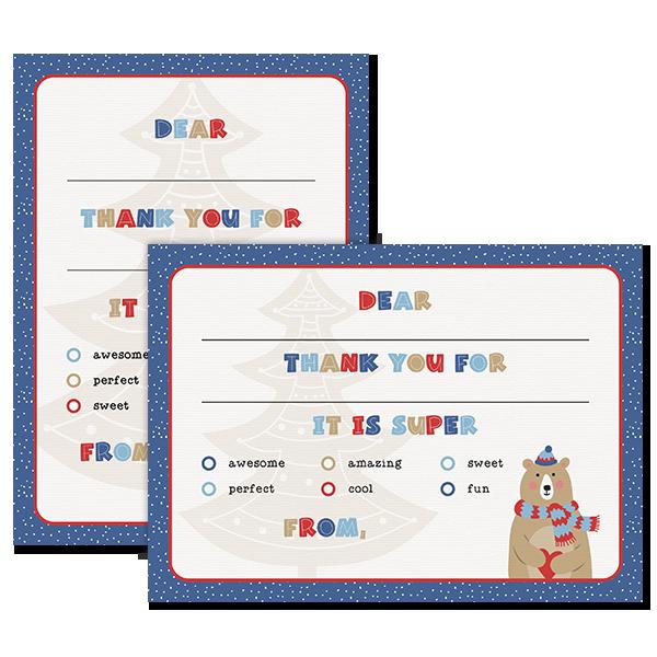 Christmas Time Bear Thanks Card Card