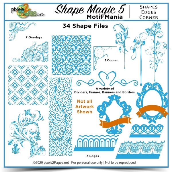 Shape Magic 5 Motif Mania Kit Digital Art - Digital Scrapbooking Kits