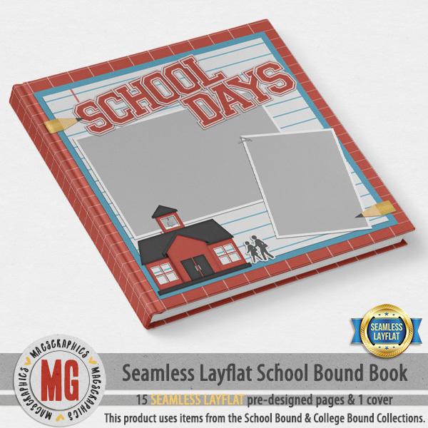 School Bound Seamless Layflat Book Digital Art - Digital Scrapbooking Kits