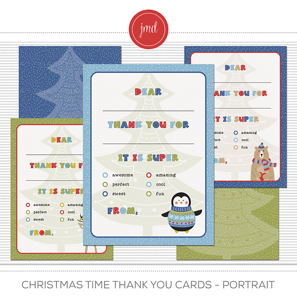 Christmas Time Thank You Cards - Portrait Digital Art - Digital Scrapbooking Kits
