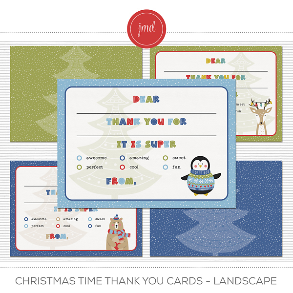 Christmas Time Thank You Cards - Landscape Digital Art - Digital Scrapbooking Kits