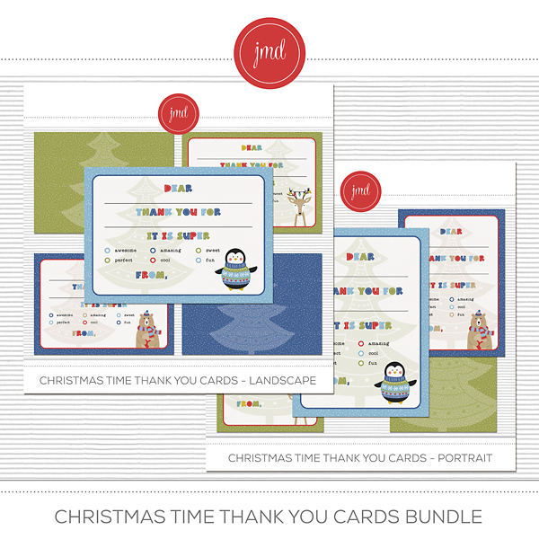 Christmas Time Thank You Cards Bundle Digital Art - Digital Scrapbooking Kits