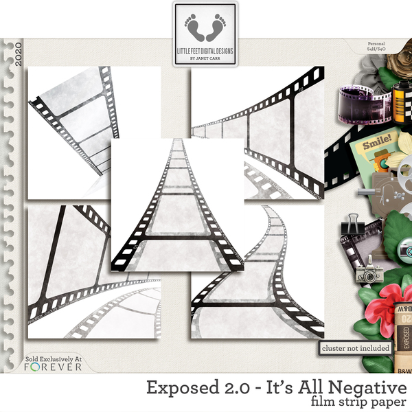 Exposed 2.0 - It's All Negative Film Strip Paper Digital Art - Digital Scrapbooking Kits