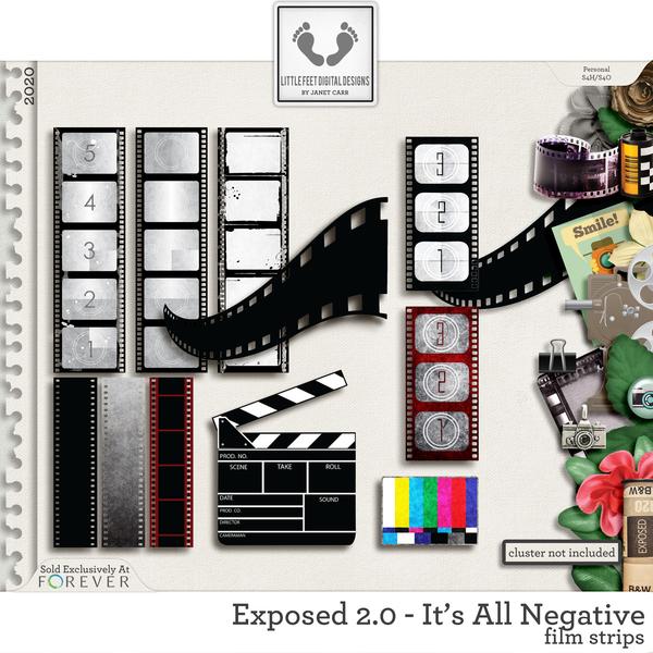 Exposed 2.0 - It's All Negative Film Strips #1 Digital Art - Digital Scrapbooking Kits