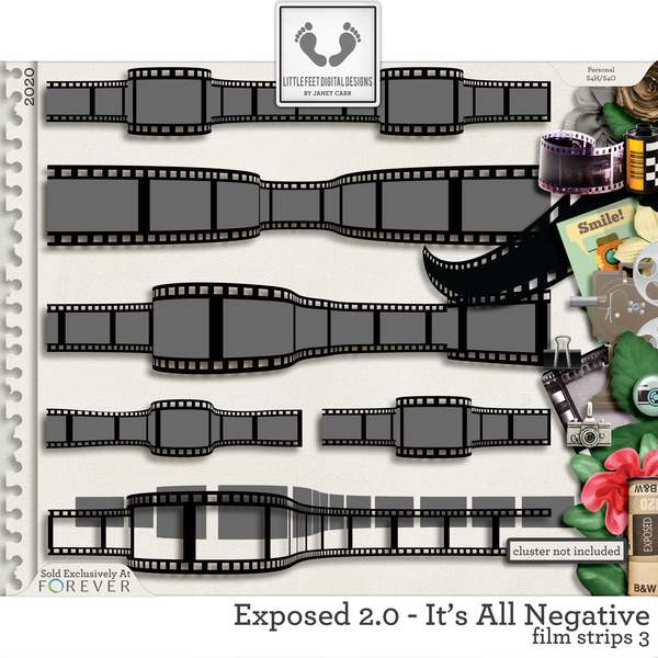 Exposed 2.0 - It's All Negative Film Strips #3 Digital Art - Digital Scrapbooking Kits