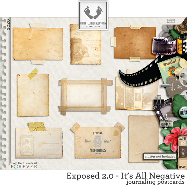Exposed 2.0 - It's All Negative Journaling Postcards Digital Art - Digital Scrapbooking Kits
