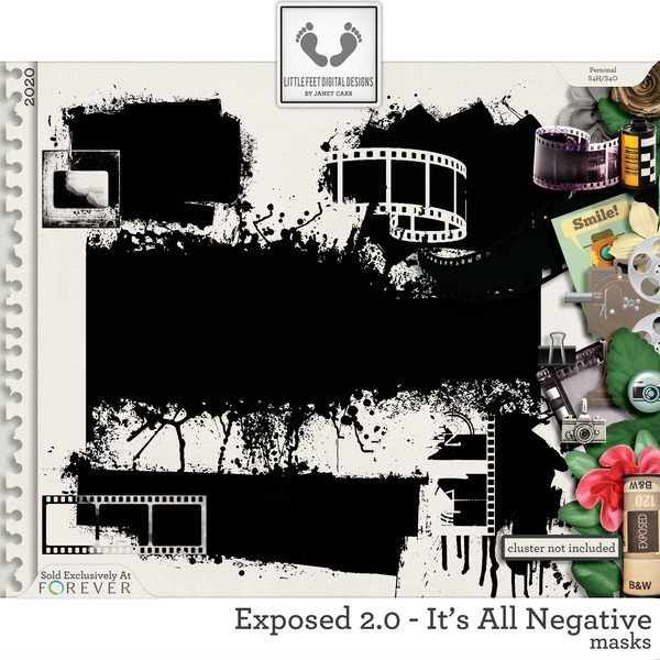 Exposed 2.0 - It's All Negative Masks Digital Art - Digital Scrapbooking Kits