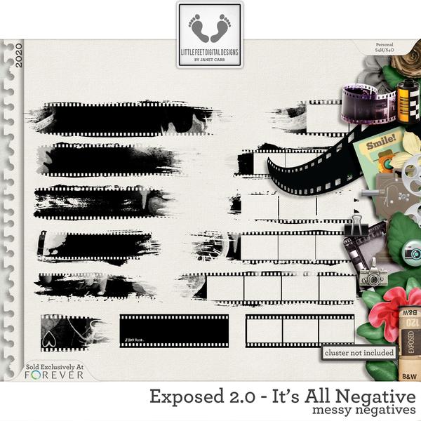 Exposed 2.0 - It's All Negative Messy Negatives Digital Art - Digital Scrapbooking Kits