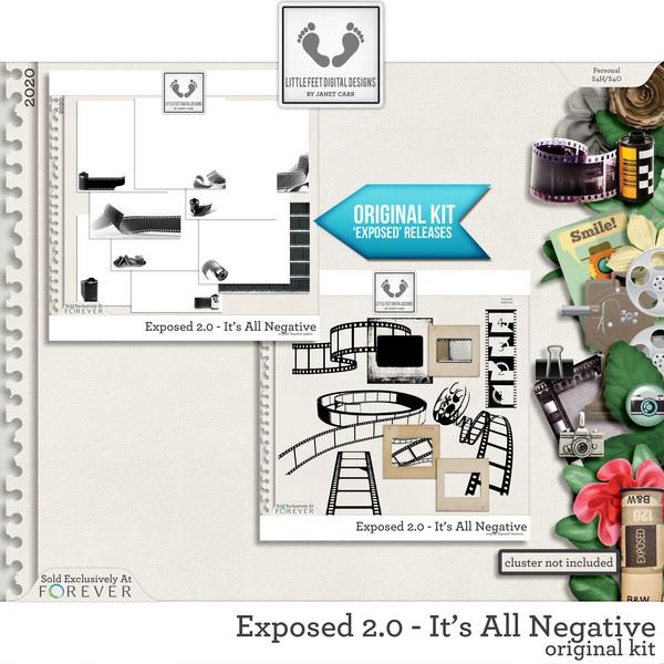 Exposed 2.0 - It's All Negative Original Kit Digital Art - Digital Scrapbooking Kits