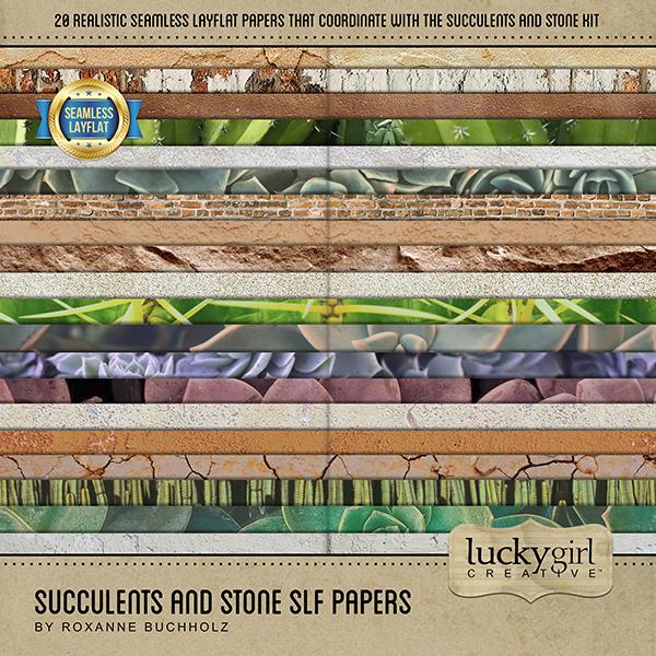 Succulents and Stone SLF Papers Digital Art - Digital Scrapbooking Kits