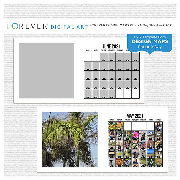 Forever Design Maps Photo A Day Storybook 2021 Digital Art - Digital Scrapbooking Kits