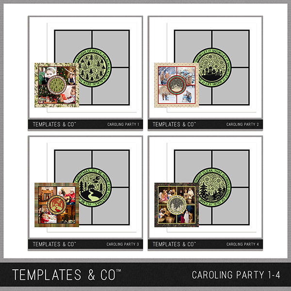 Caroling Party 1-4 Digital Art - Digital Scrapbooking Kits