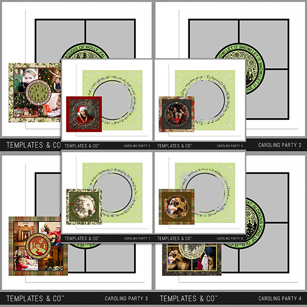Caroling Party 1-8 Digital Art - Digital Scrapbooking Kits