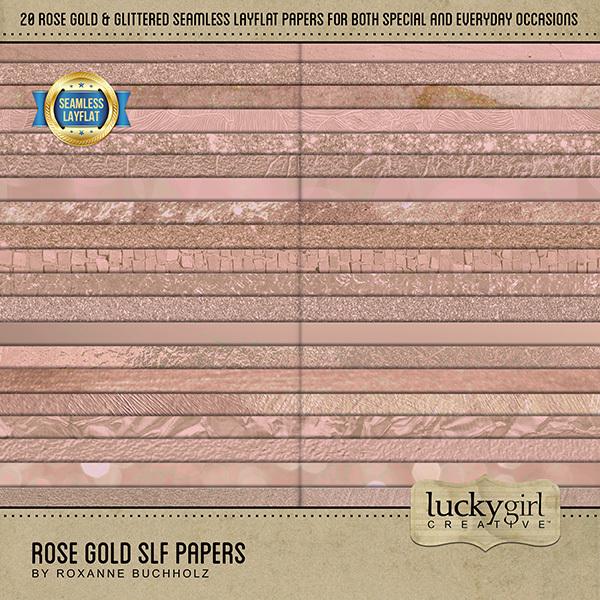 Rose Gold SLF Papers Digital Art - Digital Scrapbooking Kits