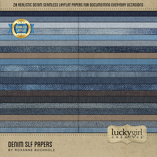 Denim SLF Papers Digital Art - Digital Scrapbooking Kits