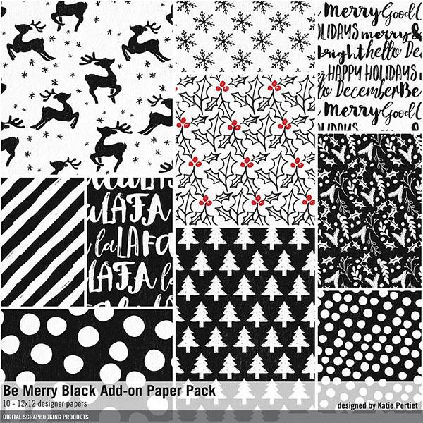 Be Merry Black Add-On Paper Pack Digital Art - Digital Scrapbooking Kits